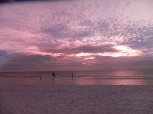 South Beach Sunset behind Apollo Marco Island Beach